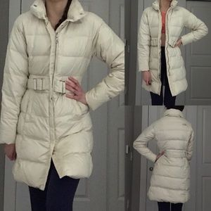 North Face Cream Down Filled Long Puffer EUC